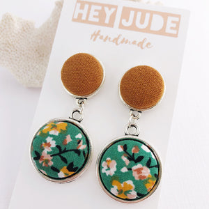 Silver Drop Earrings-Antique Silver Double Drops-Saffron Linen and Green Summer Floral-fabric button features-Hey Jude Handmade