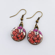 Load image into Gallery viewer, Single Bronze Drop Earring-Pink Watermelon Purple Floral-Tree of Life-reverse detail in bronze-Hey Jude Handmade