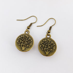 Single Bronze Drop Earrings-reverse view of Tree of Life carving-Hey Jude Handmade