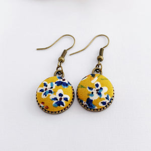 Single Bronze Drop Earrings-Fabric Button-Mustard Blue Floral-Tree of Life carving reverse-Hey Jude Handmade