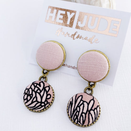 Small Bronze Double Drop Earrings-Fabric Features-Pink Linen upper and Pink Floral bottom-set in bronze-tree of life reverse detail-Hey Jude Handmade