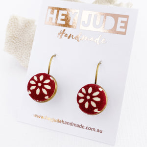 Small Bronze Drop Earrings-Bezel Drops-Maroon Petal fabric feature-Hey Jude Handmade