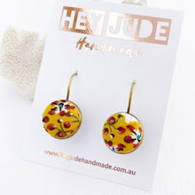 Load image into Gallery viewer, Small Bronze Earrings-Bezel Drops-Fabric covered button features-Mustard Maroon Floral-Hey Jude Handmade