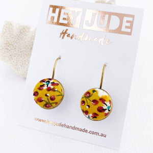 Small Bronze Earrings-Bezel Drops-Fabric covered button features-Mustard Maroon Floral-Hey Jude Handmade