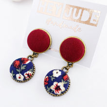 Load image into Gallery viewer, Small Bronze Double Drop Earrings-2 piece Stud Dangles-Fabric covered buttons in bronze settings-Maroon upper + Navy Floral lower-hidden tree of life bronze carving on the reverse-Hey Jude Handmade