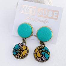 Load image into Gallery viewer, Small Bronze Double Drop Earrings-Fabric Features-Seafoam Green upper and Mustard teal Floral bottom-set in bronze-tree of life reverse detail-Hey Jude Handmade