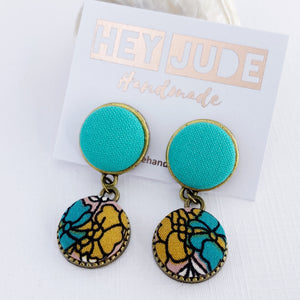 Small Bronze Double Drop Earrings-Fabric Features-Seafoam Green upper and Mustard teal Floral bottom-set in bronze-tree of life reverse detail-Hey Jude Handmade