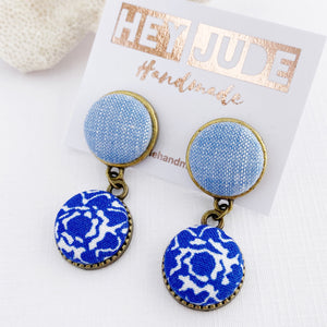 Small Bronze Double Drop Earrings-Light Blue +Bright Blue pattern-Fabric features-Hey Jude Handmade