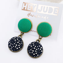 Load image into Gallery viewer, Small Bronze two piece stud dangle earrings-fabric Button earrings-Vivid Green upper and Black White pattern-Hey Jude Handmade