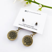 Load image into Gallery viewer, Reverse View-Small Bronze Double Drop Earrings-Tree of Life carving-Hey Jude Handmade