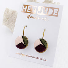 Load image into Gallery viewer, Small Bronze Bezel Drop Earrings-Fabric Features-Aubergine Pink Olive-Hey Jude Handmade