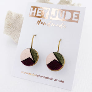 Small Bronze Bezel Drop Earrings-Fabric Features-Aubergine Pink Olive-Hey Jude Handmade