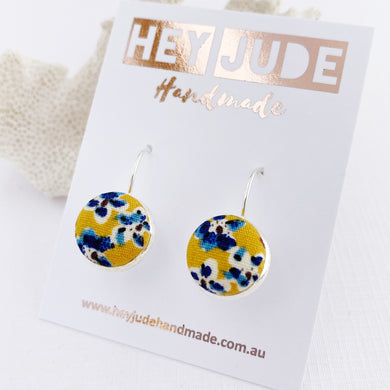 Small Silver Earrings-Bezel Drops-with fabric button feature-Mustard Blue Floral-Hey Jude Handmade