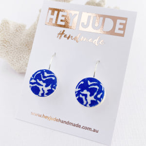 Small Silver Bezel Drop Earrings-Bright Blue Pattern-fabric feature-Hey Jude Handmade