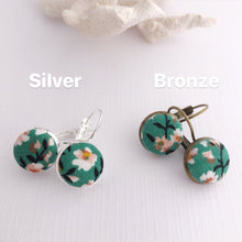 Load image into Gallery viewer, Small Bezel Drop Earrings-Silver and Bronze varieties-Green Summer Floral-Fabric Buttons-Hey Jude Handmade