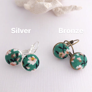 Small Bezel Drop Earrings-Silver and Bronze varieties-Green Summer Floral-Fabric Buttons-Hey Jude Handmade