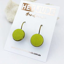 Load image into Gallery viewer, Small Bronze Drop Earrings-Bezel drops-Chartreuse linen-Hey Jude Handmade