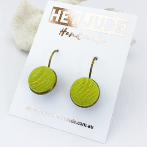 Small Bronze Drop Earrings-Bezel drops-Chartreuse linen-Hey Jude Handmade