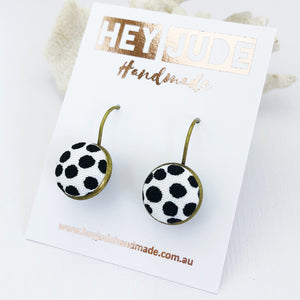 Small Bronze Drop Earrings-Bezel Drops-White with big black dots-Hey Jude Handmade