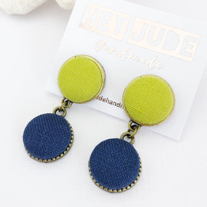 Small Bronze Double Drop Earrings-Chartreuse linen and Navy linen-Hey Jude Handmade
