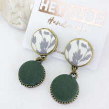 Load image into Gallery viewer, Bronze Drop Earrings-small double drops-White grey botanical print and Forrest Green-Tree of Life carving on reverse-Hey Jude Handmade