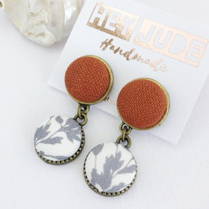 Bronze Earrings-Small Double Drops-Rust Linen and White grey botanical print-tree of life reverse-Hey Jude Handmade