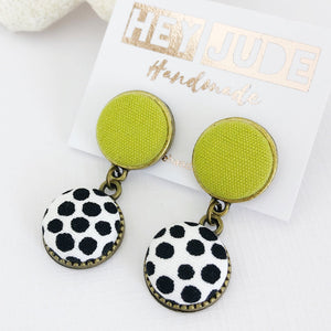 Small Double Drop-Bronze Earrings-Chartreuse linen and White black dots-Hey Jude Handmade