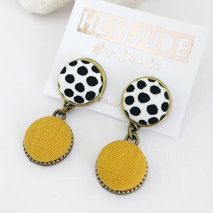 Small Bronze Double Drops-White black dots and Mustard Yellow Linen-Hey Jude Handmade