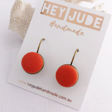 Load image into Gallery viewer, Small Bronze Bezel Drop Earrings-fabric button features-Bright Orange-Hey Jude Handmade