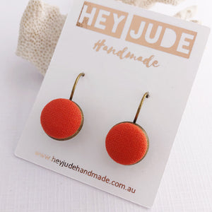 Small Bronze Bezel Drop Earrings-fabric button features-Bright Orange-Hey Jude Handmade