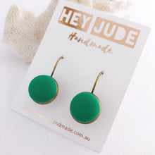 Load image into Gallery viewer, Small Bronze Earrings-Bezel drops-Fabric Button features-vivid Green-Hey Jude Handmade