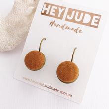 Load image into Gallery viewer, Small Bronze-Bezel Drop-Earring-Saffron Linen-Hey Jude Handmade