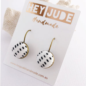 Small Bronze Drop Earrings-Bezels-Fabric Buttons-White with black dots-Hey Jude Handmade