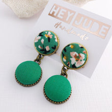 Load image into Gallery viewer, Small Bronze Double Drop Earrings-fabric button features-Green Summer Floral and Green-Hey Jude Handmade