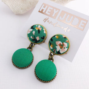 Small Bronze Double Drop Earrings-fabric button features-Green Summer Floral and Green-Hey Jude Handmade