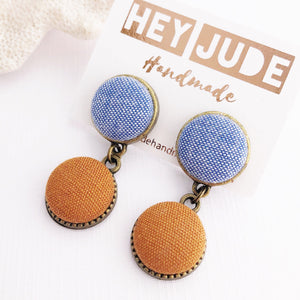 Small Bronze Earrings-Double Drops-Light Blue and Saffron Linen-Hey Jude Handmade