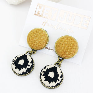 Bronze Small Double Drop Earrings-Tikka linen and Black cream pattern-Hey Jude Handmade