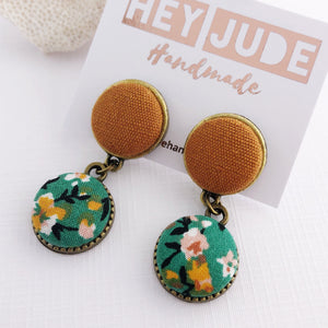 Small Bronze Earrings-Double Drops-fabric button features-Saffron Linen and Green Summer Floral-Hey Jude Handmade