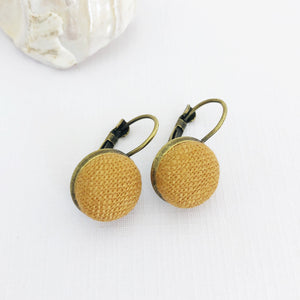 Small Bronze Bezel Drop Earrings-Tikka Linen coloured feature-Hey Jude Handmade