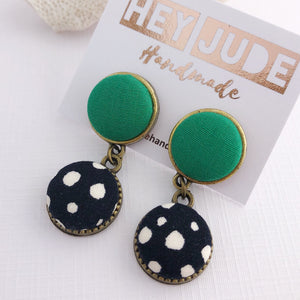 Small Bronze Earrings-Double Drops-Fabric Button Features-Vivid Green and Black, white spots-Hey Jude Handmade