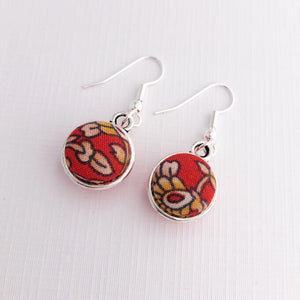 Front View-Small Silver Dangle Earrings-Double Sided-Rust Filigree fabric pattern-Hey Jude Handmade