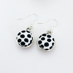 Small Double Sided Silver Dangle Earrings-Front view-White black dots-Hey Jude Handmade