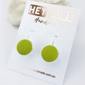 Silver Bezel Drop Earrings with Chartreuse Linen-Hey Jude Handmade