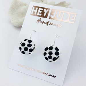 Small Silver Bezel Drop Earrings-White with black dots-Hey Jude Handmade