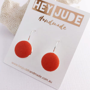 Small Silver Drop Earrings-Bezel Drops-Fabric Buttons-Bright Orange-Hey Jude Handmade