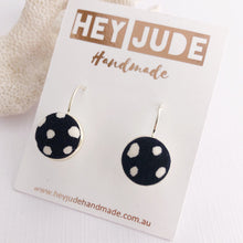 Load image into Gallery viewer, Silver Earrings-Small Bezel Drops-fabric feature-Black White Spots-Hey Jude Handmade