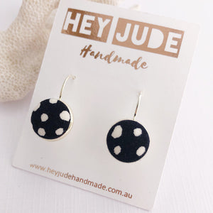 Silver Earrings-Small Bezel Drops-fabric feature-Black White Spots-Hey Jude Handmade