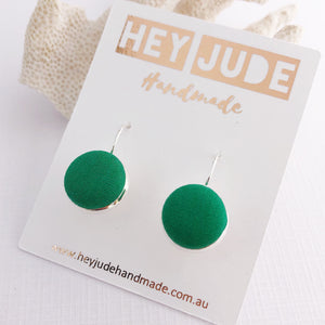 Small Silver Drop Earrings-Bezels-fabric button features-Vivid Green-Hey Jude Handmade