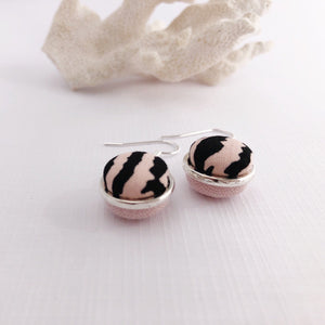 Side View-Silver Dangle Earrings-Double Sided-Pink Zebra Print and Pale Pink Linen-Hey Jude Handmade