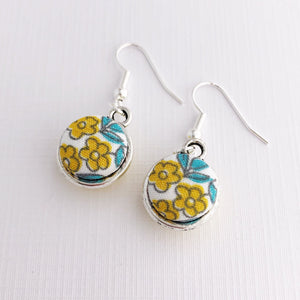 Front View-Small Silver-Double Sided-Dangle Earrings-Yellow flowers-Hey Jude Handmade